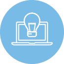 concept to completion icon of a laptop with lightbulb