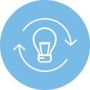 quick turn prototyping icon with lightbulb