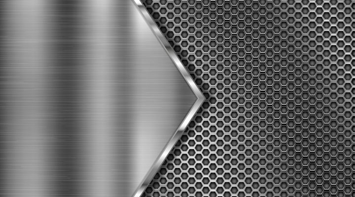 Metal perforated 3d texture with brushed iron triangle. Vector illustration